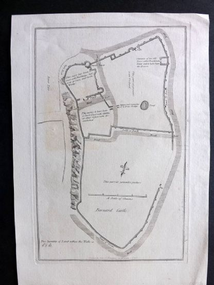 Grose 1776 Antique Map. Barnard Castle, Durham